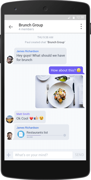 Android screenshot of in-app messaging